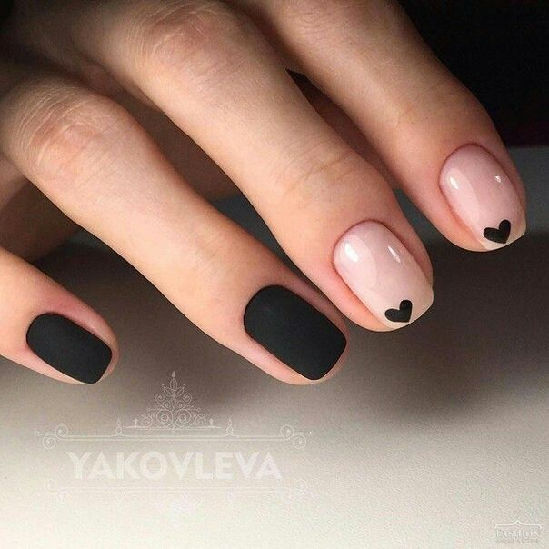 Black matte nails and nude nails with small black heart - 25+ Unique Elegant Nail Art Ideas On Pinterest Classy Nail