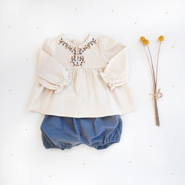 a delicate embroidered babydoll blouse paired with our baby bloomers