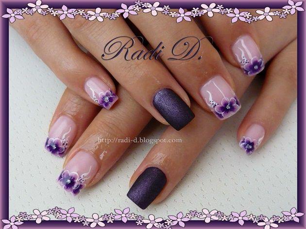 Purple Flowers French by RadiD - Nail Art Gallery nailartgallery.nailsmag.com by Nails Magazine www.nailsmag.com #nailart