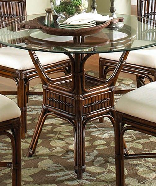 Rattan shack polynesian indoor rattan bamboo round for Dining room tables 42 round