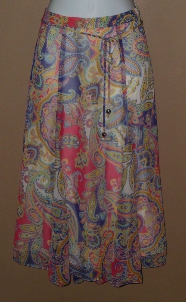 Womens Coldwater Creek Petite Large Purple Pink Yellow White Paisley Skirt  #ColdwaterCreek #ALine