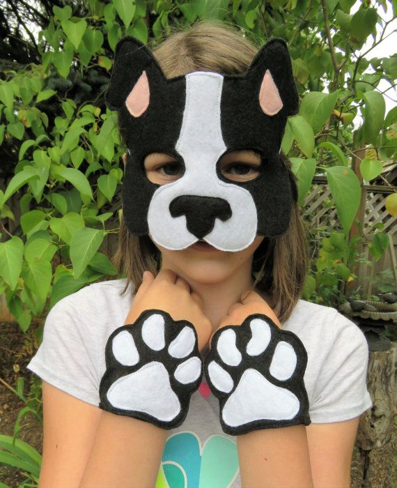 Dog Costume Set - Dog Mask - Boston Terrier Costume - Dog Paws - Boston Terrier Mask - Halloween - Child Size