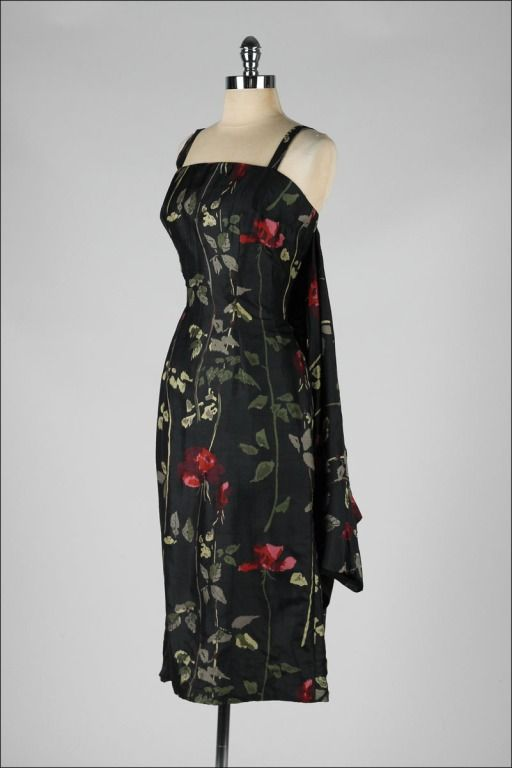 Vintage 1950's Black Silk Floral Suzy Perette Dress | From a collection of rare vintage evening dresses at http://www.1stdibs.com/fashion/clothing/evening-dresses/