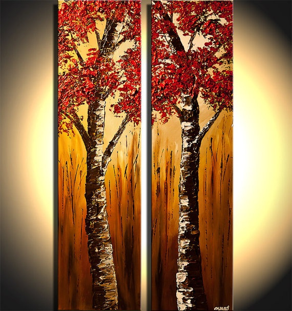 Original Abstract Landscape Painting Palette Knife by OsnatFineArt, $499.00