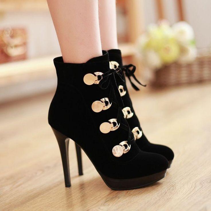 2015 Ультра высокие каблуки женские ботинки мартин заклепки ботильоны шнуровкой черный бархат женская половина короткие сапоги Eur размер 34-39