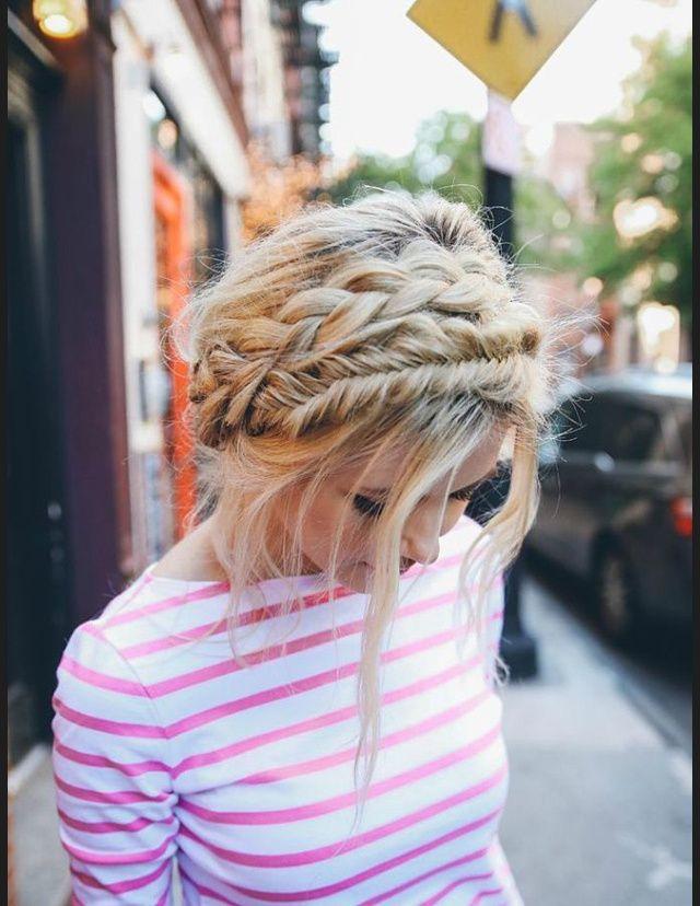 Idees de tresses vues sur Pinterest - Double couronne de tresses