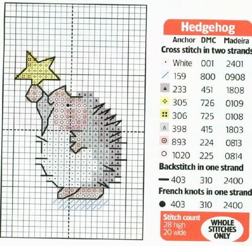 Cross-stitch Hedgehog with a Christmas Star...   Schema punto croce Riccio