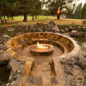 Circular Stone Seating With Sunken Fire Pit, Backyard Garden, Outdoor Large  Garden