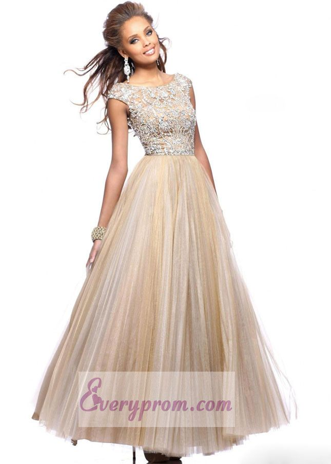 Nude Jeweled Floor Length Prom Dress With Cap Sleeves