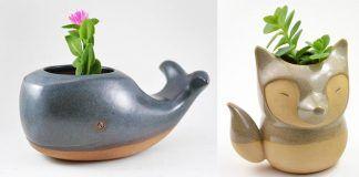 Hlinené kvetináče v tvare veľryby, mravenčiara či líšky vás svojou roztomilosťou očaria hneď na prvý pohľad
