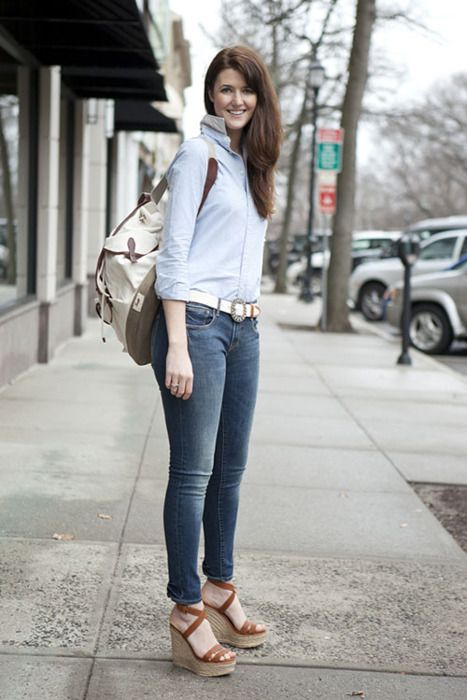classic wedges and skinny jeans