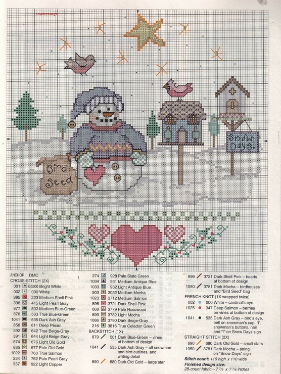 snowman, birdhouse...this is cute to stitch