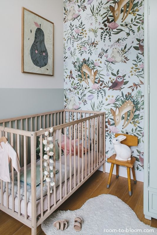 Children's Bedroom Interior Design | Girl's nursery with woodland wallpaper | Room to Bloom