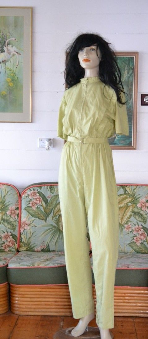 Vintage retro lime green jumpsuit Indian playsuit funky - Funky Flamingo