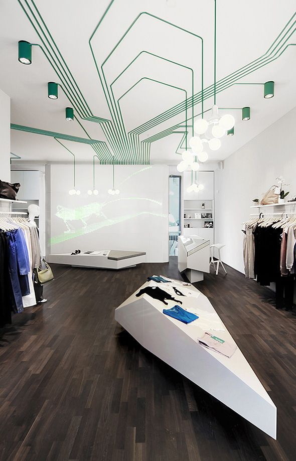 Le cabinet d'architecture berlinois Kinzo vient de réaliser l'agencement de la boutique de mode Maygreen à Hambourg.