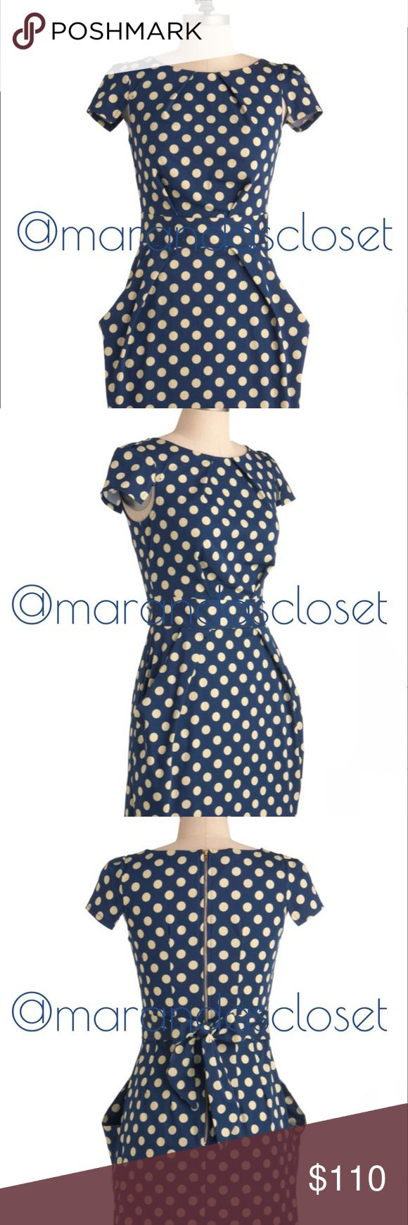 NWT! - Navy Polka Shift Dress w/ Pockets NWT!! ModCloths  Tapioca Dokey Dress in 6 (US)  Brand: Closet London Length: 33.5 inches  -- UK Size: 8 -- US Size: 6  Details: 97% Cotton, 3% Spandex. Unlined. Back zipper closure. Hip Pockets. Imported  All Items Ship Monday - Thursday; Excluding Holidays  --Sorry No-Trades No-Holds  --Low Ball Offers Will Be Declined! --Please Ask❓ Before You Buy! Thanks for stopping by! Closet London Dresses