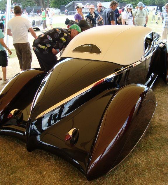 James Hetfield Auburn roadster, by Rick Dore, 3/4 rear ...