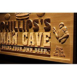 Personalized American Football Man Cave Game Room Sport Bar Beer 3D Engraved Wooden Sign
