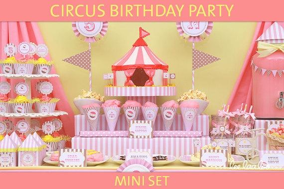 Circus Girl Birthday Party Mini Set  PERSONALIZED by LeeLaaLoo