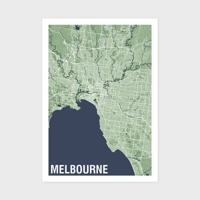 Melbourne Two-tone Map Print