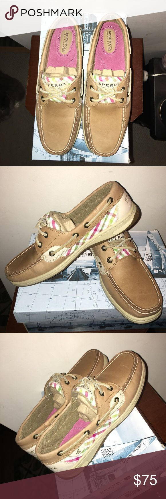 25% off Bundles NWT  Sperry Topsider  Bluefish Linen leather with hot pink and green check accents on sides and tongue. Pink cushy suede footbed. Brand new. Never worn. Awesome shoes, just too small for me. Will be shipped in shoe box with original packaging. Smoke free. Bundle for additional discounts.  Sperry Top-Sider Shoes Flats & Loafers