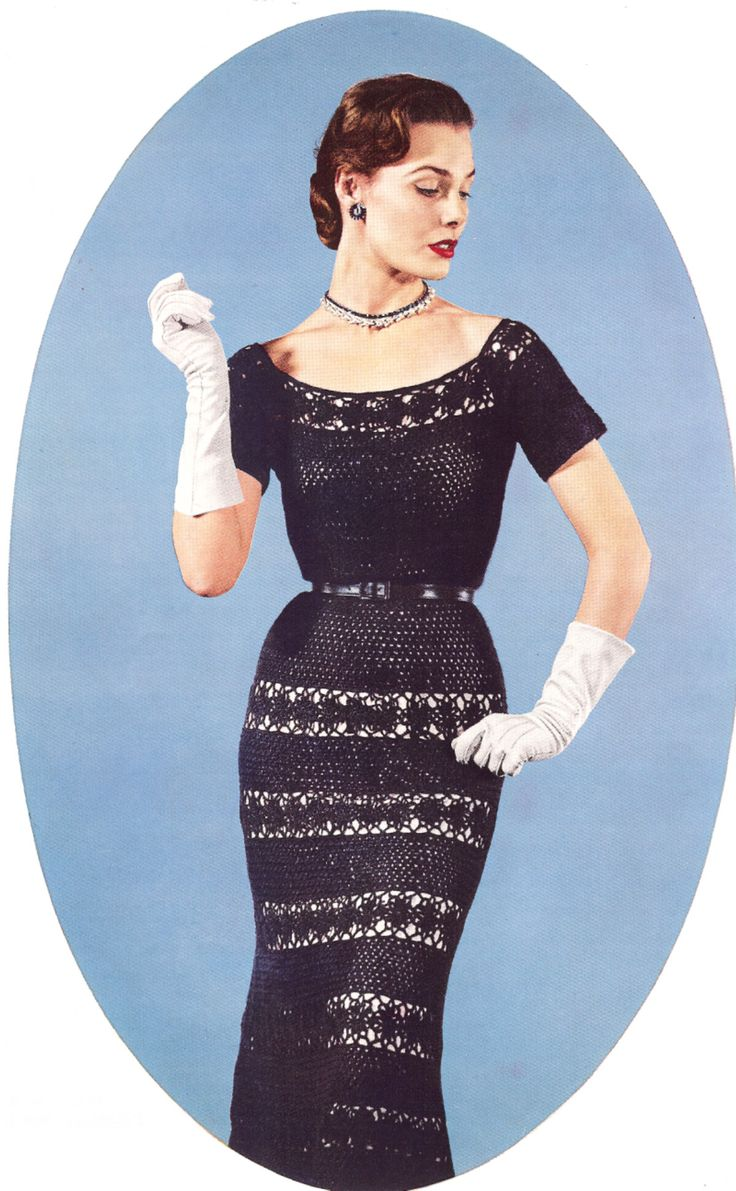 Vintage Crochet Lace Evening Holiday Dress Pattern