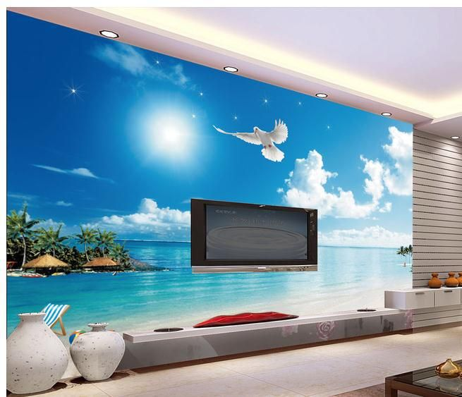 New large wallpaper Custom wallpaper Sunny Mediterranean beach mural wall paper papel de parede wall stickers Free shipping8490