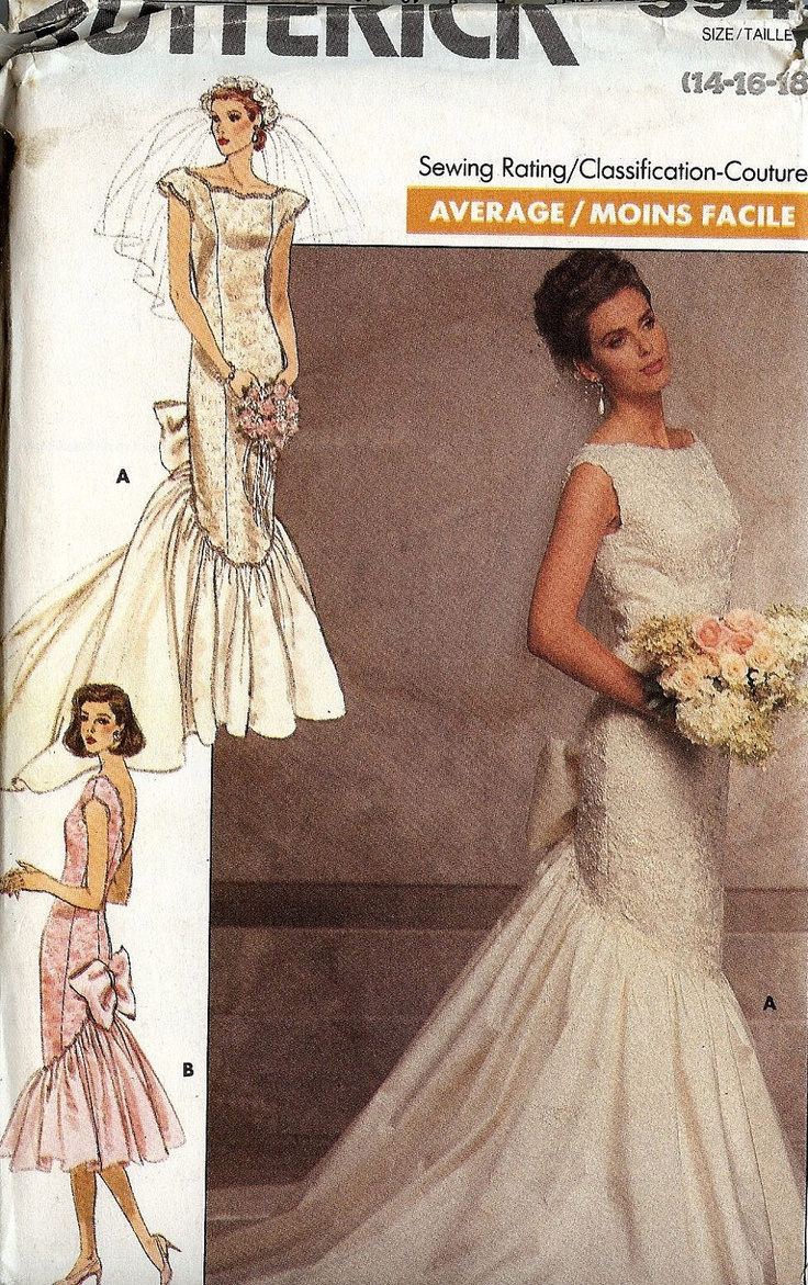 PATTERN Butterick 5941 Wedding Dress fitted panelled with fishtail and bow Size 14-16-18 1980s Glamour (uncut). $10.00, via Etsy.