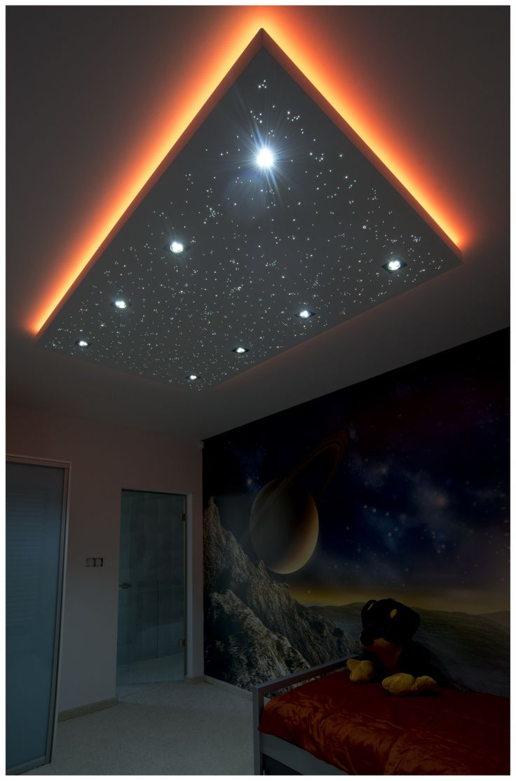 Starry sky board consists of end-light fiber optics.