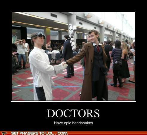 Doctors have epic handshakes! #Doctor Who #Dr. Horrible
