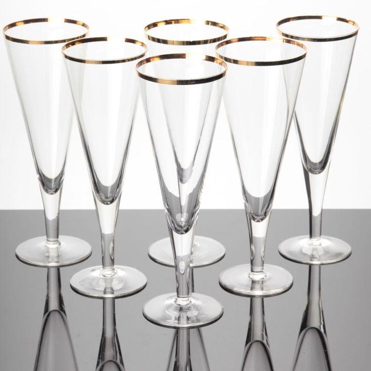 6 Sektgläser Art Deco alte Gläser Goldrand zarte Trinkgläser Sektkelche Sektglas
