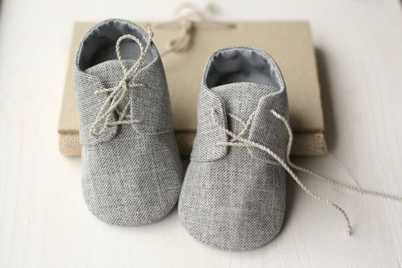 Grey baby boy shoes, oxford shoes, tuxedo baby outfit, cloth booties, baby shower gift, fabric sneakers, baby accessories on Etsy, $24.95