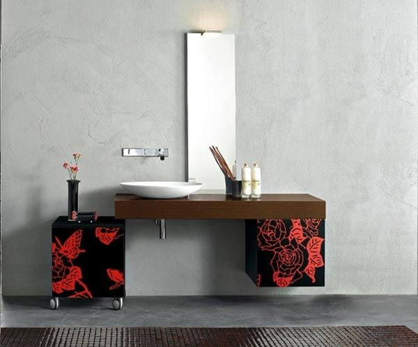 Modern Vanities With Patterned Storage Units