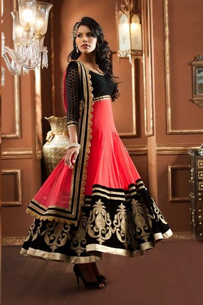 peach  black anarkali suit  http://just4evesboutique.in/online-salwar-kameez/anarkali-suits