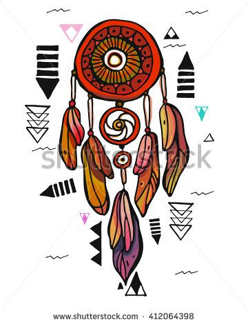 Hand drawn Native American Indian talisman dreamcatcher. Vector hipster illustration isolated on white. Ethnic design, boho chic, tribal symbol. Coloring book for adults. - stock vector