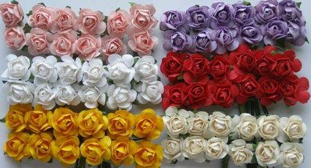 Papierowe różyczki do dekoracji, kartek, zaproszeń