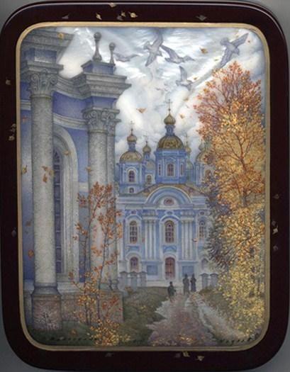 Kozlov Sergey, Fedoskino lacquer box, Sankt-Petersburg. The St. Nicholas the Wonderworker Naval Cathedral of Ephephany.