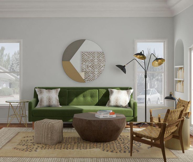 Modern And Eclectic Living Room Design Ideas U2013 Green Mid Century Sofa U2013 Mid  Century And