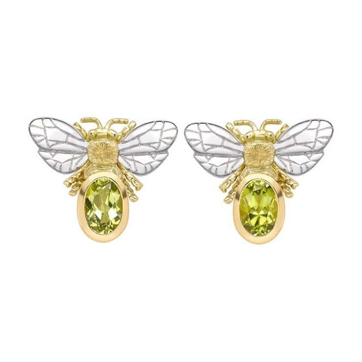 Set with two lush green peridots - the birthstone of August and Pantone's Color of the Year 2017 - these colourful Theo Fennell Bee Different stud earrings are sweet and summery. Perfect for a personalised present in our gift inspiration on Mother's Day. http://www.thejewelleryeditor.com/jewellery/article/birthstone-jewellery-mothers-day-gift-ideas/ #jewelry