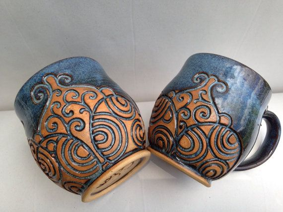 Matching set of 2 Hand Carved Blue Mugs by EKSPottery on Etsy, $50.00