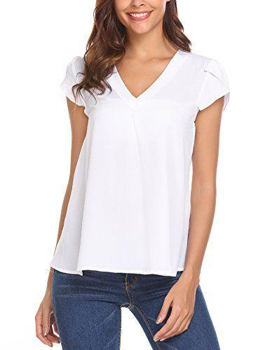 46eeca2ab90526 Women Casual Chiffon Blouse V Neck Short Sleeve Simple Top Shirts (S-XXL)
