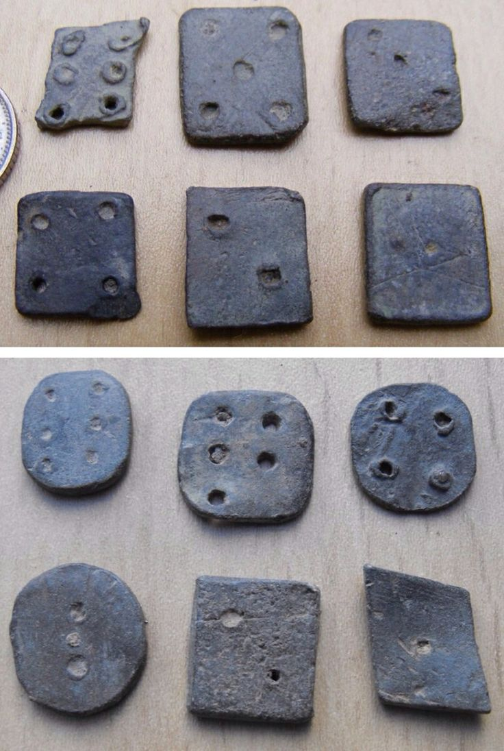 Ancient Roman lead flat gaming dice. Thames River, London.