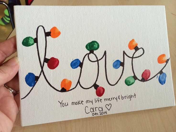 "Christmas gift from students to parents: ""love"" Christmas lights and saying ""You make my life bright and merry"""