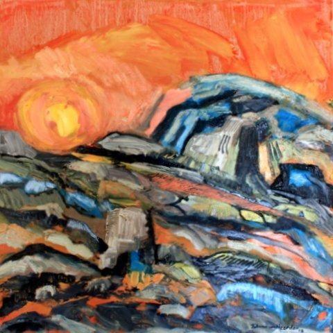 """Sun"" - Johan van Heerden - oil on board"
