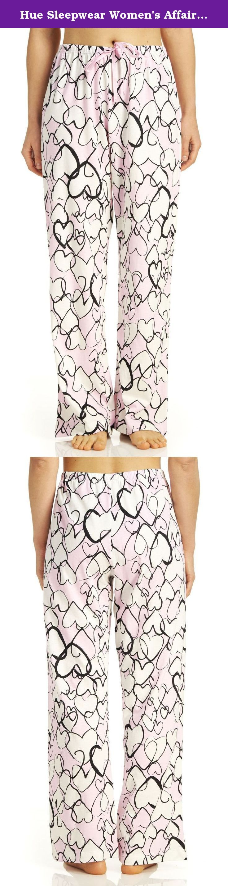 Hue Sleepwear Women's Affair Of The Heart Long Pajama Pant, Pink Lady, XLarge. This Hue Sleepwear Women's Affair Of The Heart Long Pajama Pant will provide you will comfort throughout the night. Pajama pants Elastic waistband with drawstring All over heart graphics 100% Cotton.