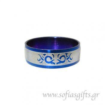 Ανδρικό δαχτυλίδι metal blue δράκοι