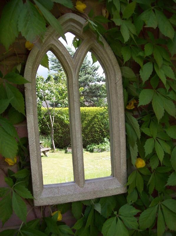 Resin Stone Gothic Garden Mirror Extra Large | Garden ...