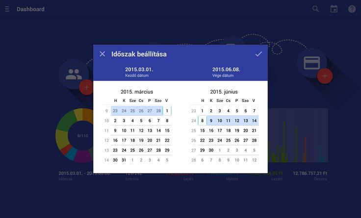 Tablet Számla DashBoard összesített forgalmi adatok és diagramok megjelenítés időszak beállítása.  Az alkalmazás letölthető: https://play.google.com/store/apps/details?id=com.tabletinvoice.app
