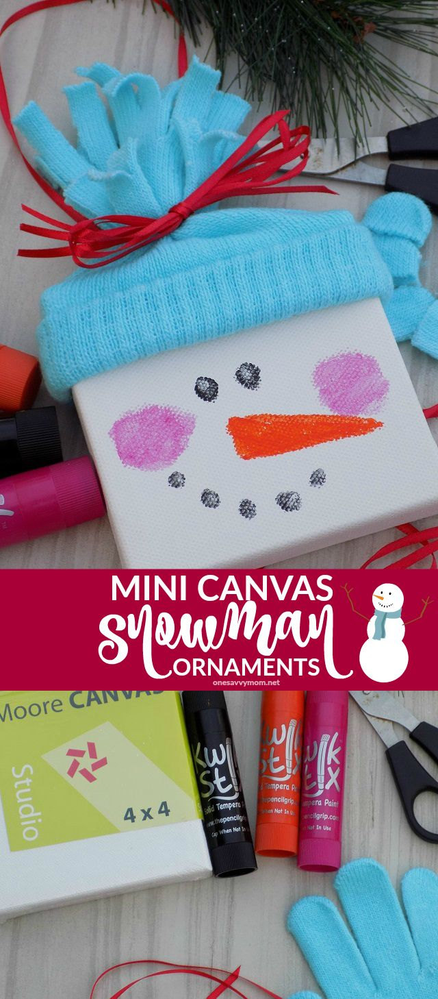 Mini Canvas Snowman Ornaments - A Quick & Simple {Super Cute!} Christmas Kids Craft Tutorial - mini canvases, old mittens, and a few other simple supplies! Perfect handmade kids gifts for friends and family and for hanging on your own Christmas tree!