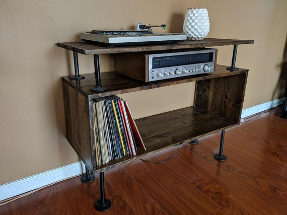 Rustic Record Player Cabinet With Shelf Mid Century Modern Industrial Media Table Tv Stand Ent Vinyl Record Storage Furniture Record Player Cabinet Shelves